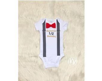 Boy's Half Birthday, Half Shirt, Boys Birthday Shirt, 1/2 Birthday Shirt Bow Tie and Suspenders Bodysuit
