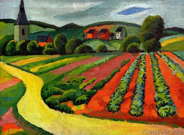 August Macke - Landschaft mit Kirche und Weg