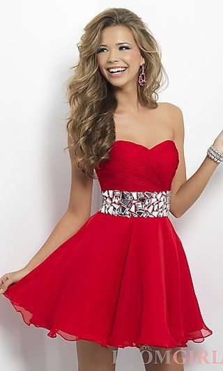 Strapless Homecoming Dress by Blush 9683 at PromGirl.com  http://www.promtimes.com/2013-Homecoming-Dresses-A-Line-Sweetheart-Short-Mini-Beads-Sequins-Chiffon