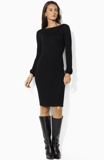 Ralph Lauren boat neck merino dress in black