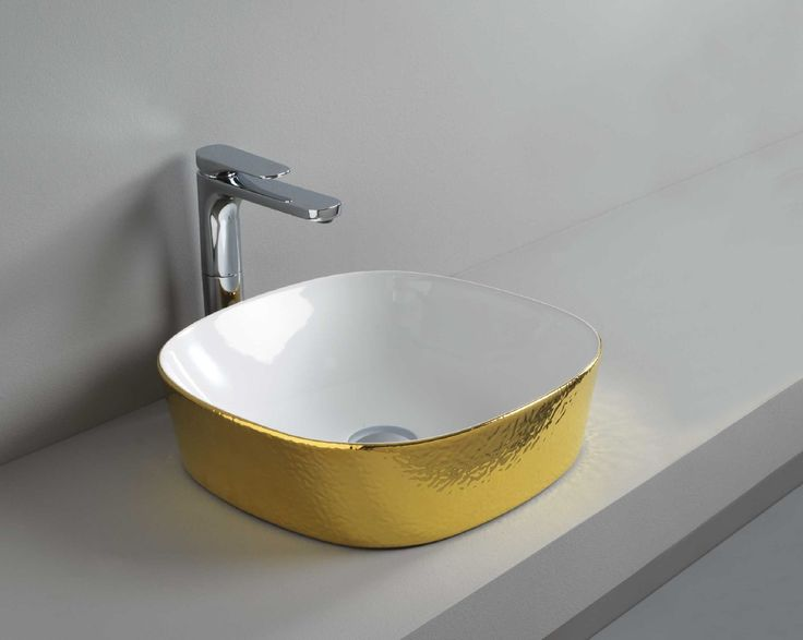 GHOST countertop washbasin #TheArtceram #gold #bathroom #colors  - Thin-rim washbasins