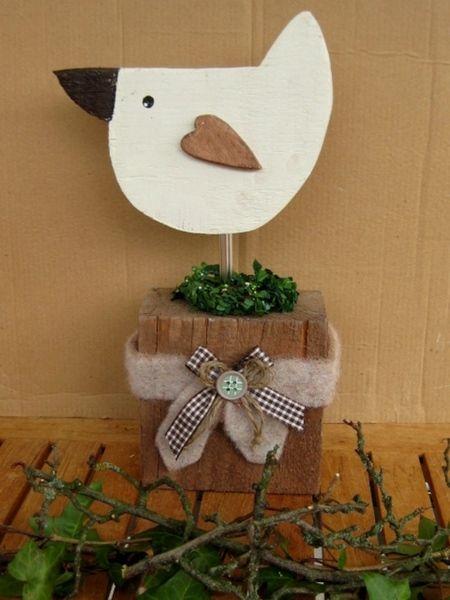 XXL Shabby Landhaus Vogel-Deko Herbstzeit , 42 cm von Sternenglanz auf DaWanda.com