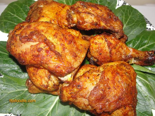 african  Nigerian Food Recipes | A) •    10  chicken pieces •    1 tspn salt •    1 tspn black pepper •    1/2 tspn each (Ginger powder , garlic powder and dried parsley) •    2 cubes maggi (Bouillon cube) B) •    Large oven tray and 2 sheets aluminum foil •    2 Table spoons Olive oil •    1 heaped table spoon smoked paprika