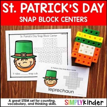 St. Patrick's Day Kindergarten - Snap Block CenterGet this product as part of a BUNDLE and SAVE! Snap Block BundleIncluded in this download is:St. Patrick's Day themed snap block math centers. Students use the task cards to create an object. Task Card #1 - Has a clipart, the structure for the blocks, and a sentence including vocabulary and number of cubes sent.