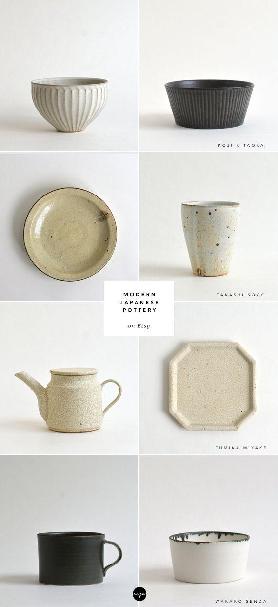 Modern Japanese pottery on Etsy