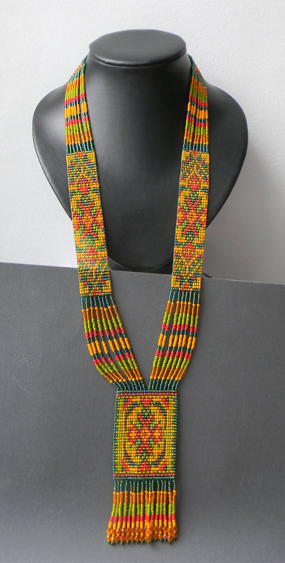 Autumn Colors Ethnic  Beaded Necklace  beadwoven  by Anabel27shop