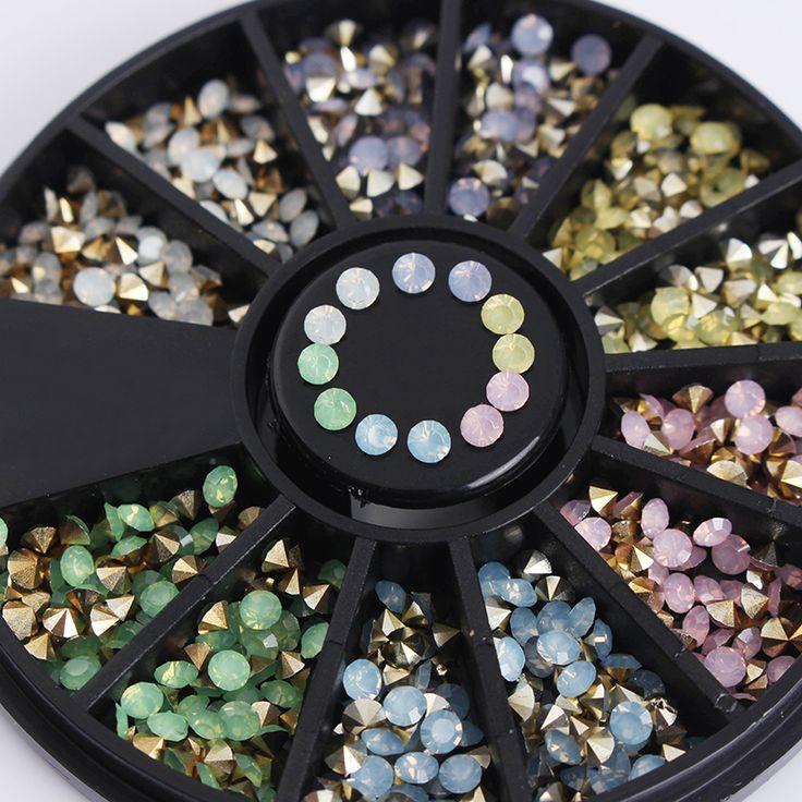 1 Box Colorful Sharp Bottom Rhinestone 3D Nail Decoration 2.5mm Opal Decoration In Wheel Manicure Nail Art Decoration