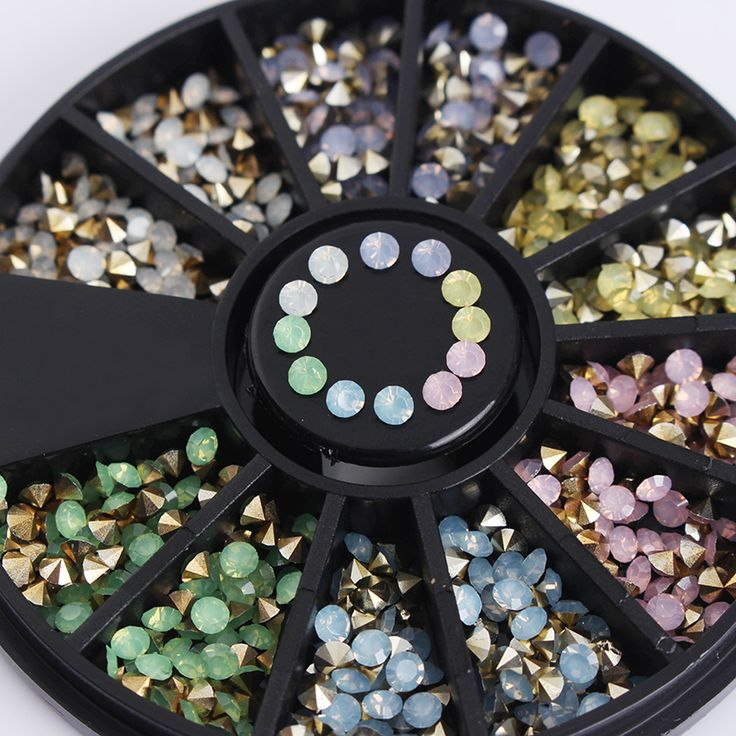 1 kotak warna-warni sharp bawah berlian imitasi 3d nail dekorasi 2.5mm opal manicure nail art dekorasi