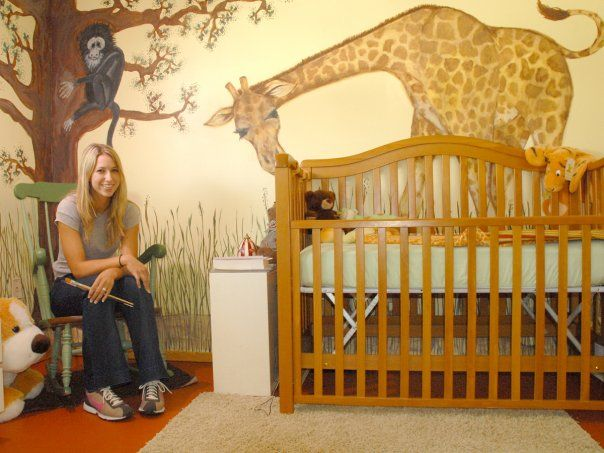 The Happy Homebodies: Baby Nursery Mural with a giraffe, monkey and tree
