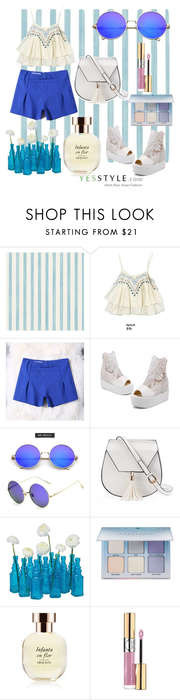 """Off shoulder for Summer and WIN US$40 YesStyle coupon!"" by anicagrbesa ❤ liked on Polyvore featuring Christian Lacroix, Kotiro, JY Shoes, Yoki, Cultural Intrigue, Anastasia Beverly Hills, Arquiste Parfumeur, Yves Saint Laurent, Summer and off"