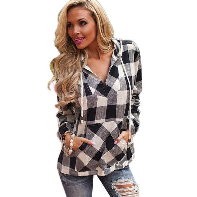 Women Hoodies Sweatshirt Spring Cotton Long Sleeve Balck Red Women Plaid Hoodies Shirt Fit Blouse Plus Size Sweatshirt Top