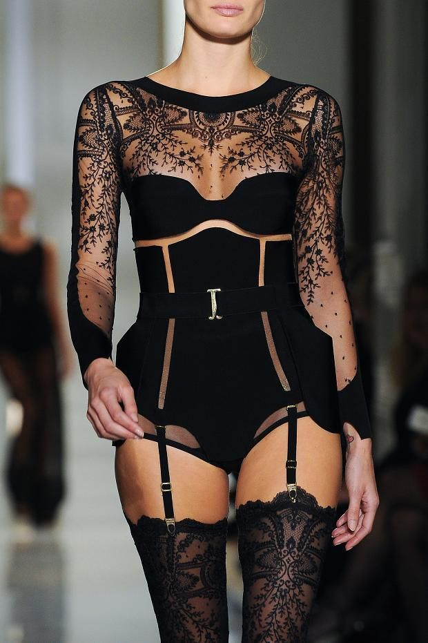 "This would be a great edgy bodice for an evening gown with a metallic or jewel tone skirt  ""La Perla Haute Couture Spring 2015 """