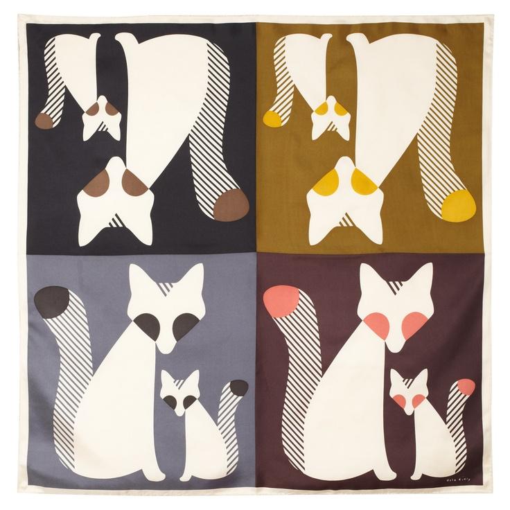 Cute As A Fox Print Scarf Orla Kiely Silk Twill Hand Rolled Square Scarf