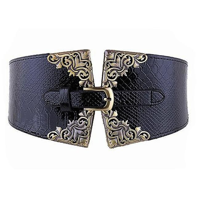 Women's Elastic Waistband Wide Belt Metal Buckle Women'sBelt elasticizedback with snap rivets