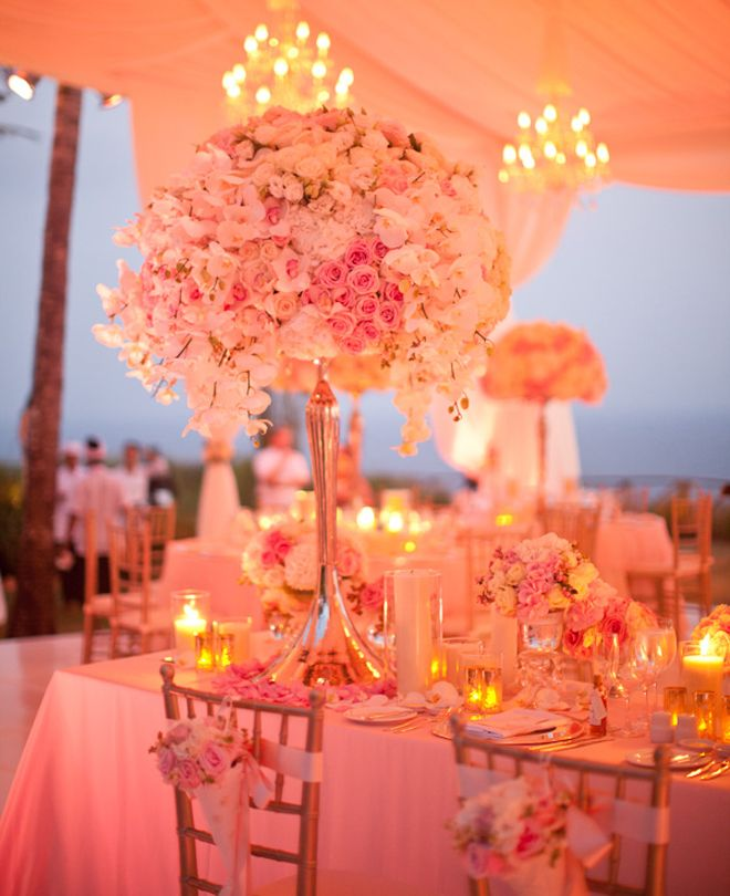 Utilize lighting to help give your reception a gorgeous glow! #pinkweddings #lighting #reception