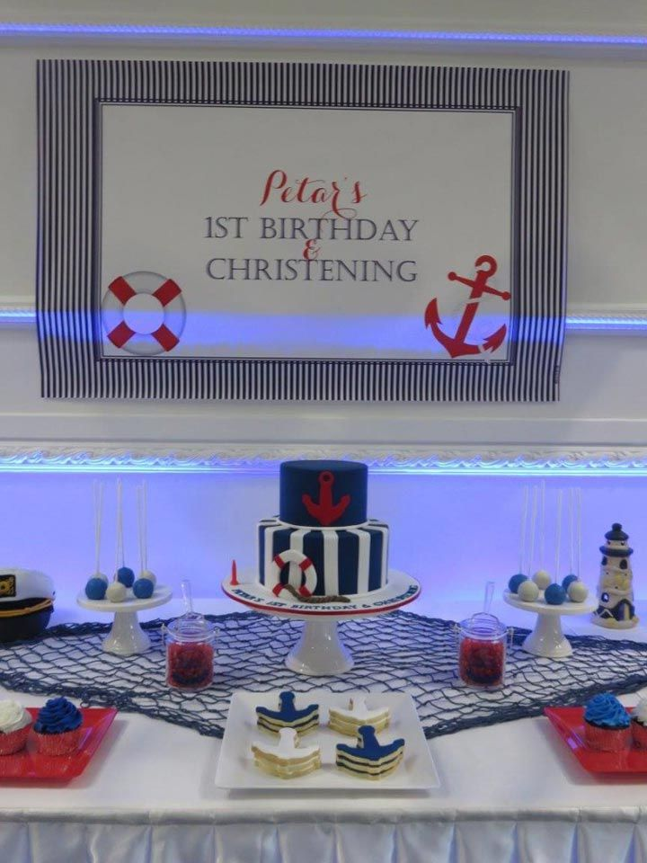 Nautical Backdrop for Birthday or Christening