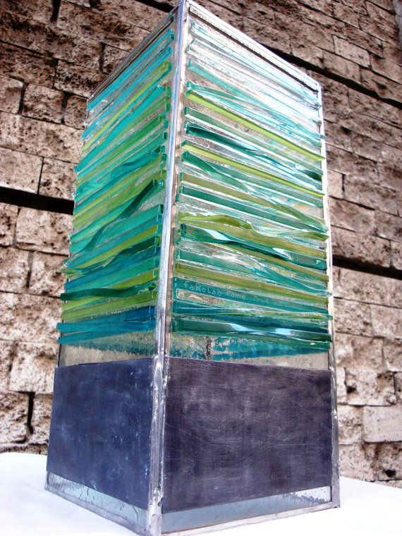 HandmadeTable Lamp Fused Glass Strips and Lead by FaRoLab