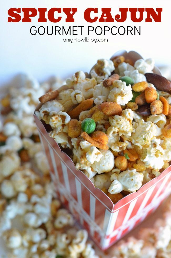 Spicy Cajun Gourmet Popcorn Recipe via anightblog.com >> #WorldMarket ...
