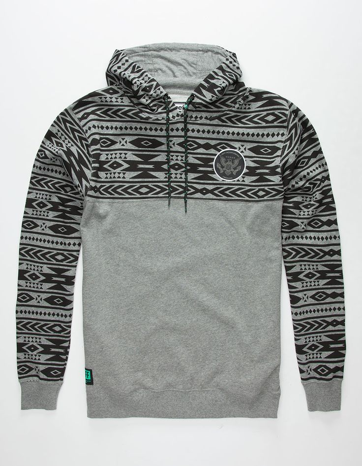 Neff x Future Collection pullover hoodie. Draw string hood. Fleece lined. Southwestern print on top half and sleeves. Freebandz patch stitched onto chest. Side hand pockets. Ribbed sleeve cuffs and hem. Neff tag on hem. 80% cotton/20% polyester. Machine wash. Imported.