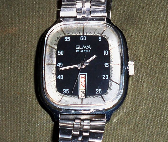 Slava 26 Jewel Dual Mainspring w Day-Date SS 1988 (2428)