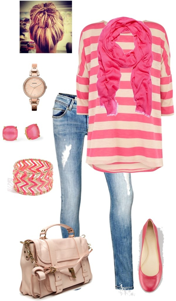 pink striped kimono sleeved top, skinnies, flats, scarf, and messy bun. casual,
