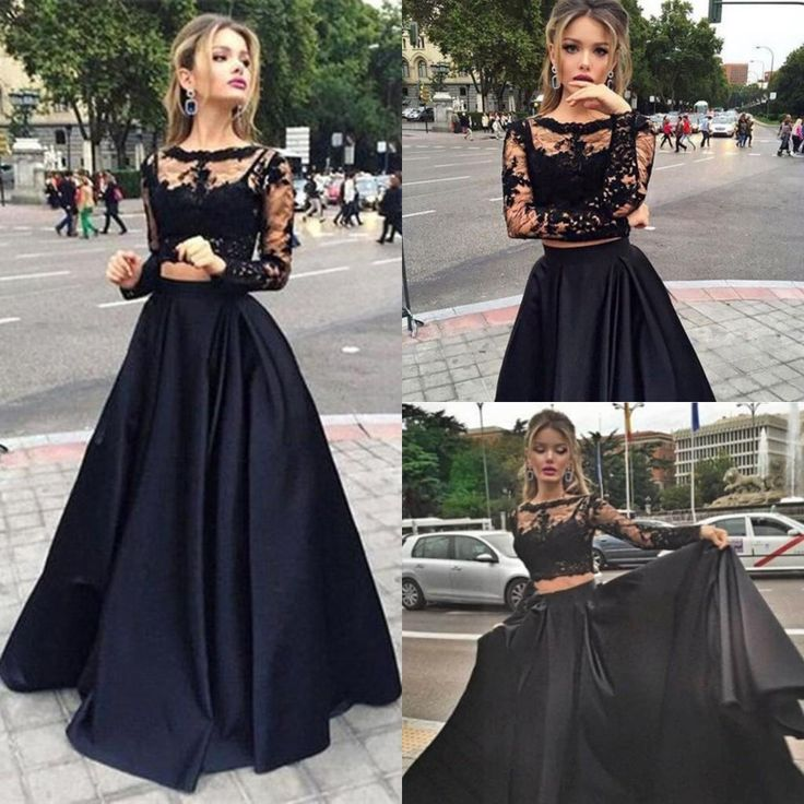 2016 Modest Two Pieces Prom Dresses Sheer Long Sleeves Appliques Lace Top Black Sexy Cheap Evening Party Pageant Occasion Dress For Woman Online Dress Shop Petite Prom Dresses From Modeldress, $98.71| Dhgate.Com