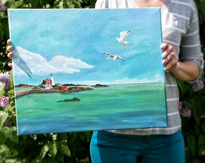 Fisgard Lighthouse Victoria, BC, Canada Painting Print  Browse unique items from WildNorthCreations on Etsy, a global marketplace of handmade, vintage and creative goods.