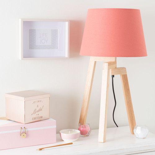 Lampe trépied en bois H 57 cm corail