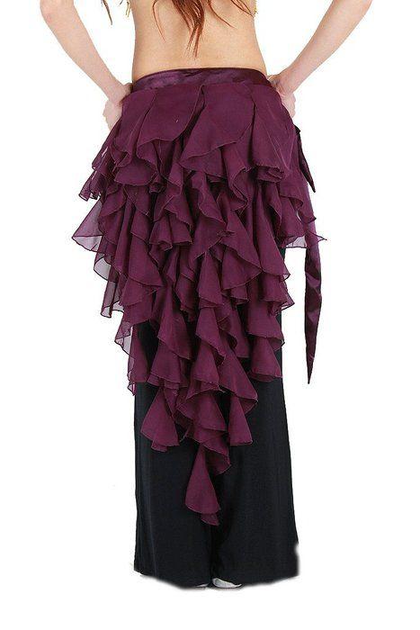 ZLTdream Women's Belly Dance Fox Triangle Waving Cut Hip Scarf with Tassel Purple