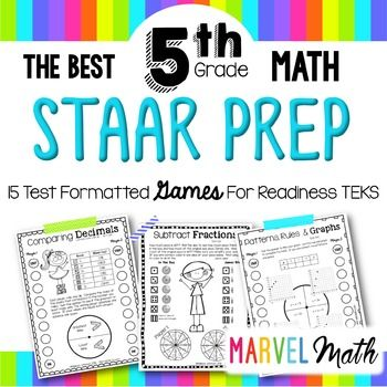 This is a fun set of 15 no prep, STAAR test formatted games that cover the 5th grade math readiness TEKS. STAAR prep can be complete drudgery, so I use these games in conjunction with released test items to maximize student engagement in preparation for the STAAR math test. I also know your time is valuable, so these are print-and-go games.