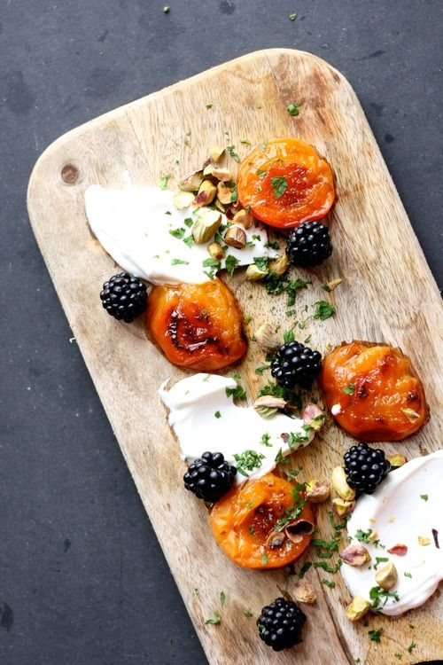 food honey forward baked peaches with mascarpone raspberries and honey ...