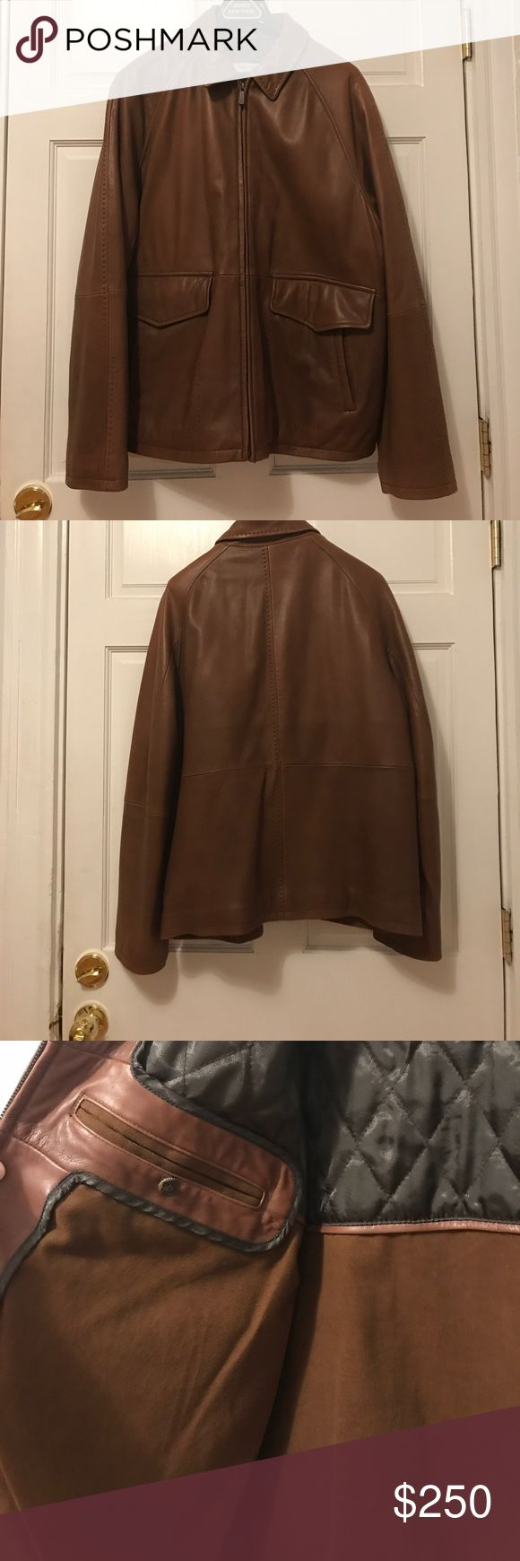 Men's brown leather jacket Men's brown leather jacket, extra soft, worn only twice excellent condition. joseph abboud Jackets & Coats Military & Field