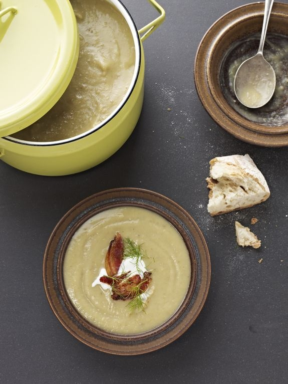 Soup does not get any tastier (or easier) than this foolproof fennel soup  (I use veggie stock and leftover rice or quinoa and it is delicious!) - by Sarah Wilson/IQS