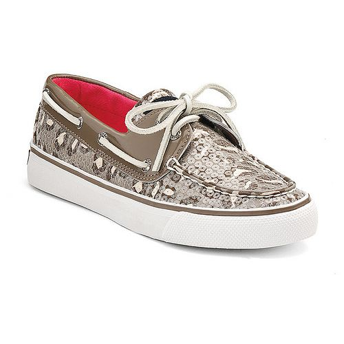 Women's Sperry Top-Sider Bahama Greige / Leopard Sequin Slip-On Boat Shoes  - NIB
