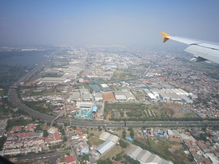 up in the air above North Sumatera,Medan