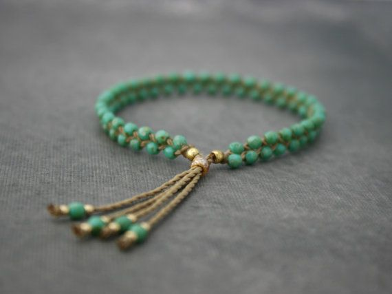 Turquoise Czech Glass Beaded Tassel Bracelet by CiCiDesignsJewelry