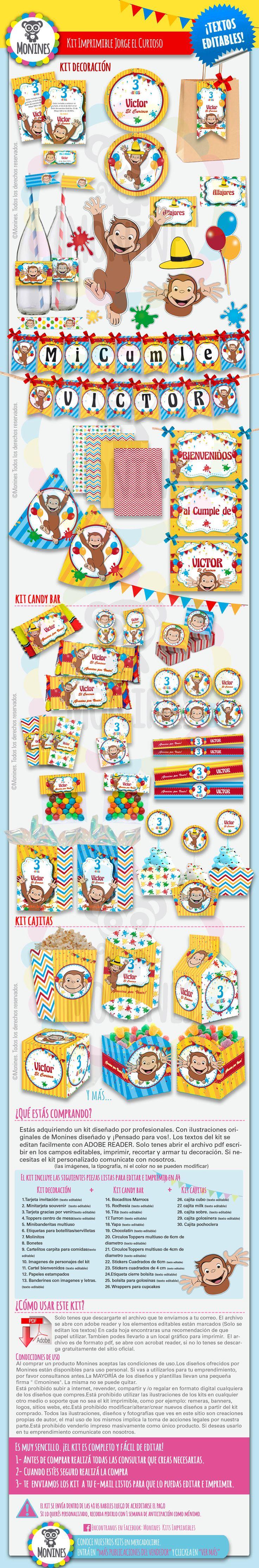 Kit Imprimible Jorge El Curioso Monito ¡textos Editables! - $ 120,00 en MercadoLibre