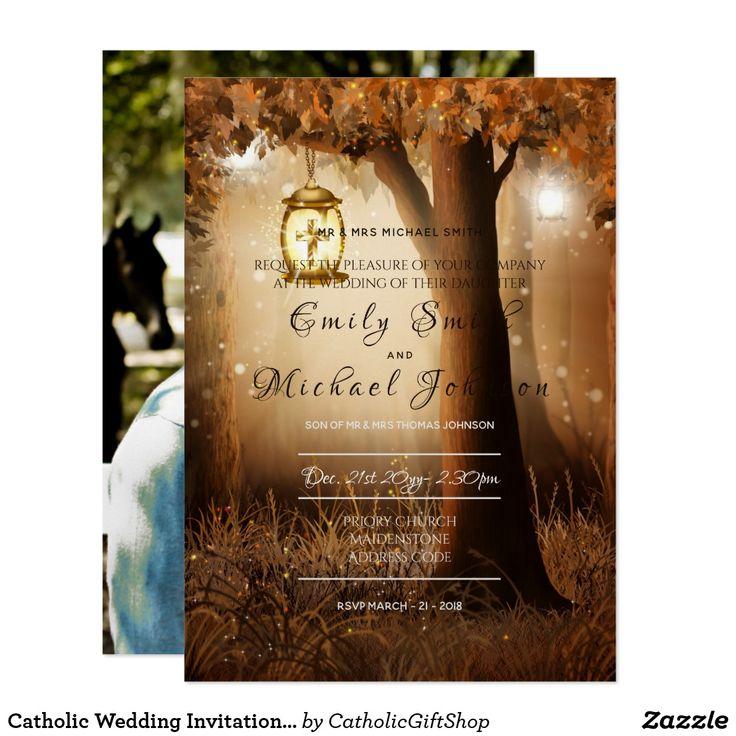 bridal shower invitations vector free%0A Catholic Wedding Invitation  ADD PHOTO  Rustic