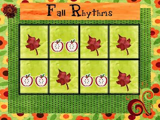 "I was inspired by another blogger, Emily at thesweetestmelody to make my own ""Fall Rhythms"" pack.  Used it yesterday with kindergarteners an..."