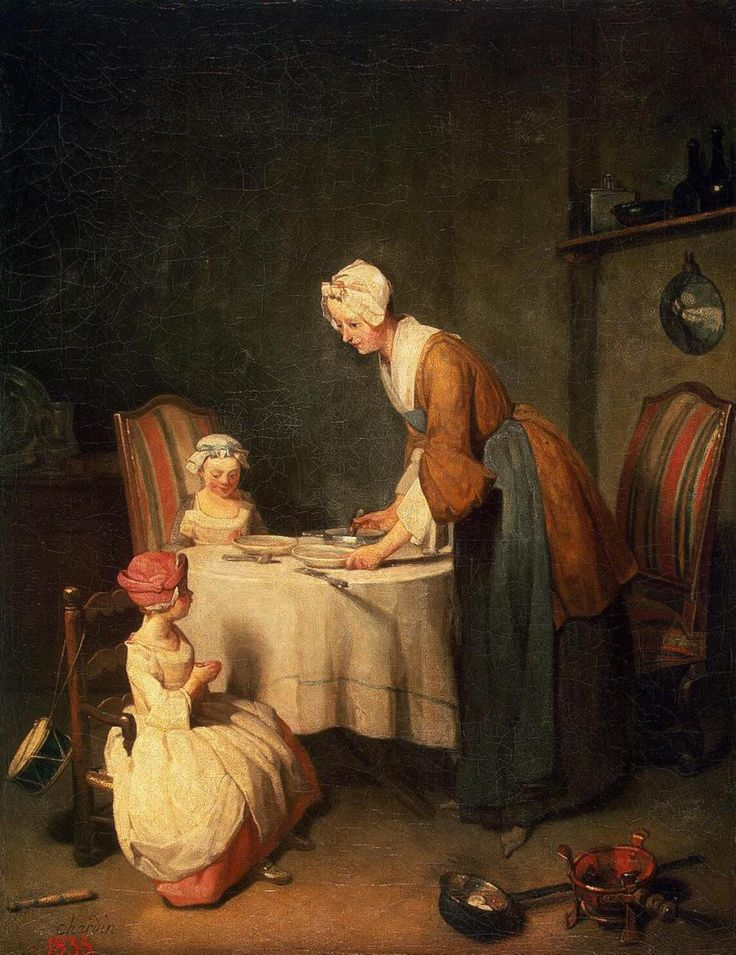1744, Home Scene by Chardin.  Pin 100 on this board!