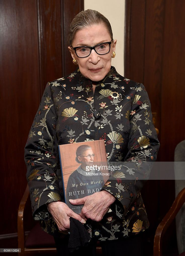 Supreme Court Justice Ruth Bader Ginsburg holds a copy of her new book 'My Own Words' after An Historic Evening with Supreme Court Justice Ruth Bader Ginsburg at the Temple Emanu-El Skirball Center on September 21, 2016 in New York City.