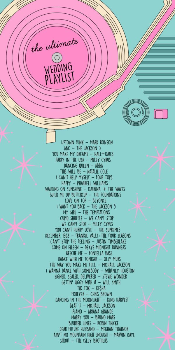 The ultimate wedding playlist for your wedding reception dancing including top 40, pop, Motown, classics and line dancing!