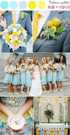 mint green and yellow wedding bridesmaids and groomsmen - Google Search