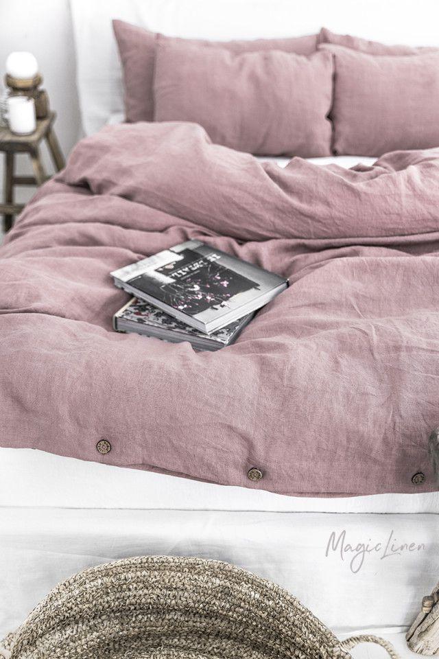Dusty Pink Linen Duvet Set In 2021 Washed Linen Duvet Cover Bed Linen Sets Linen Duvet Covers