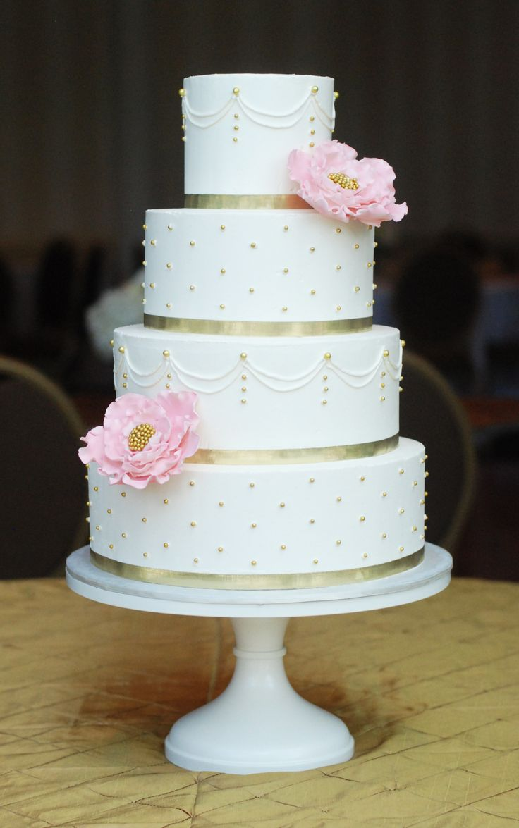 Italian Meringue Buttercream cake with gum paste blush flowers and gold pearls. by www.sweetfixrva.com