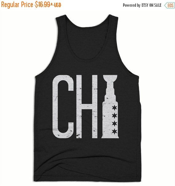 ON SALE Chicago Tank Top - Chicago Shirt - Chicago Blackhawks - Chitown shirts - Mens Tank Top - Triblend