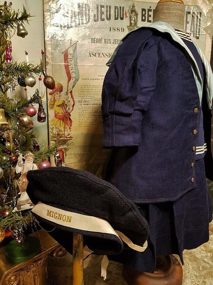 ~~~ Jumeau Factory Navy Blue Wool Sailor Costume size 12 Bebe ~~~ from whendreamscometrue on Ruby Lane