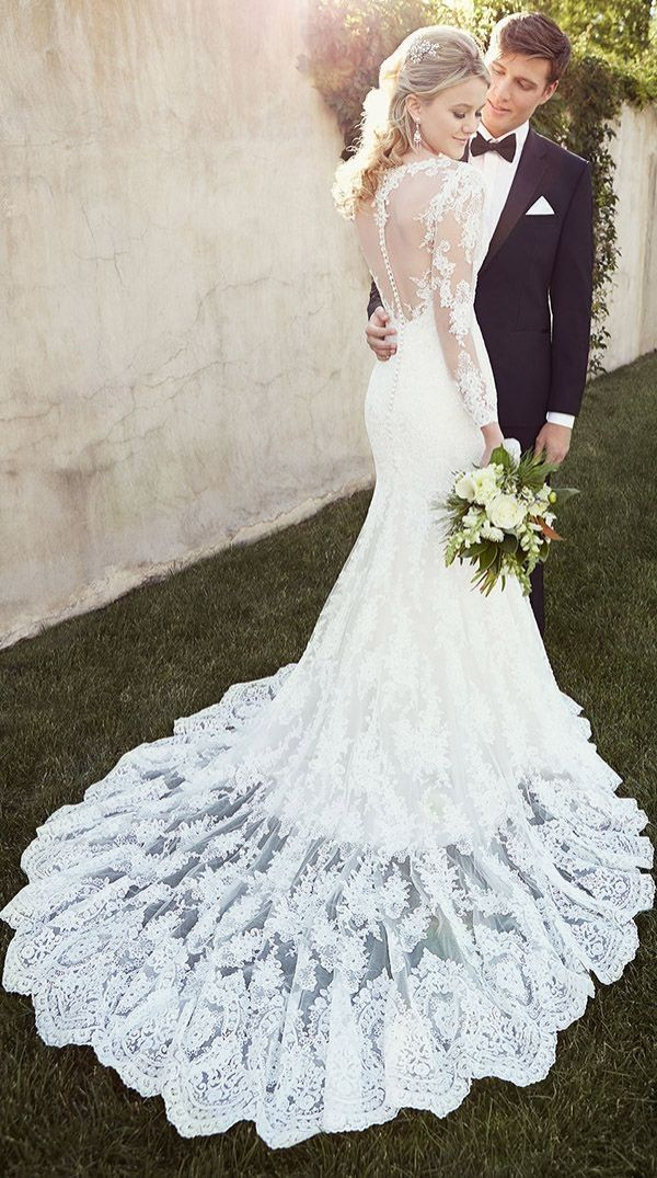 Vintage-inspired lace wedding dresses with illusion back and long sleeves from essense of australia