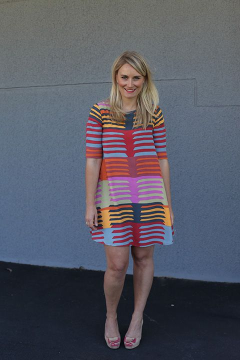"Emily Dennis, brand manager. Mister Zimi dress, Zara shoes, ""e"" ring: Natalie Marie jewellery. #streetstyle"