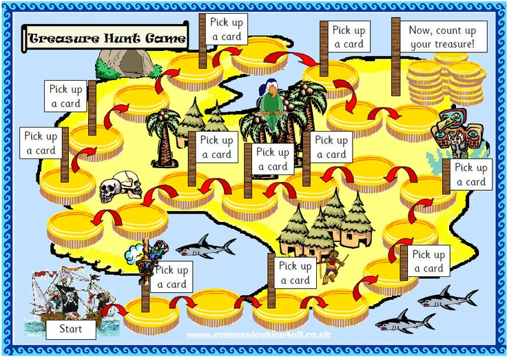 A board game with a Pirate theme. Players move around the desert island collecting and losing gold coins along the way. Full instructions included.